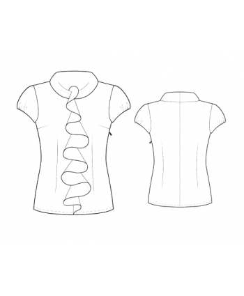 Custom-Fit Sewing Patterns - Capped-Sleeved Blouse with Front Ruffle