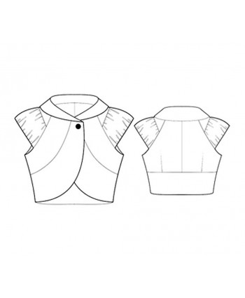 Custom-Fit Sewing Patterns - Cropped Curved Jacket with Draped Cap Sleeves