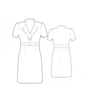 Custom-Fit Sewing Patterns - Short-Sleeved V-Neck Ruffle Dress