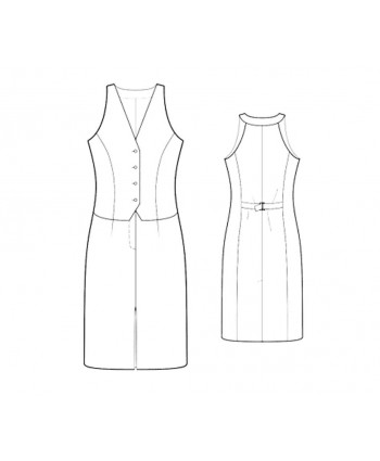 Custom-Fit Sewing Patterns - Sleeveless V-Neck Vest-Front Dress