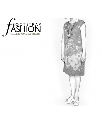 Custom-Fit Sewing Patterns - Loose Knee Length Sheath Dress