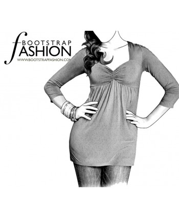 Custom-Fit Sewing Patterns - Sweetheart-Neck Long-Sleeved Fitted Top