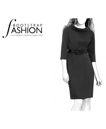 Custom-Fit Sewing Patterns - Belted Portrait Stand Collar Dress
