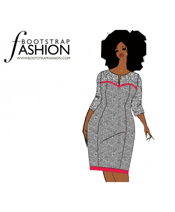 Custom-Fit Sewing Patterns -  Long Sleeve Slash Neck Dress
