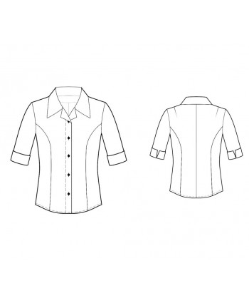 Custom-Fit Sewing Patterns - Short-Sleeved Tailored Button-Down Shirt