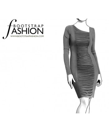 Custom-Fit Sewing Patterns - Asymmetrical Neck Draped Knit Dress