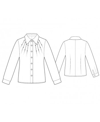 Custom-Fit Sewing Patterns - Long-Sleeved Button-Down Shirt with Darts