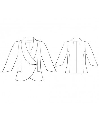 Custom-Fit Sewing Patterns - Curved Asymmetric Front Jacket with Three-Quarter-Length Sleeves