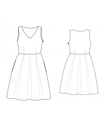 Custom-Fit Sewing Patterns by Yuliya Raquel - V-Neck Pleated Skirt Dress With Pockets