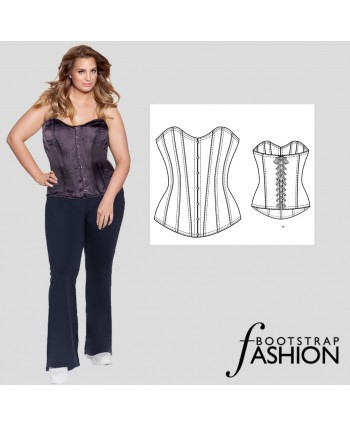 Custom-Fit Sewing Patterns - Exclusive!! Classic Front Closure Corset, Includes Detailed Sewing Instructions