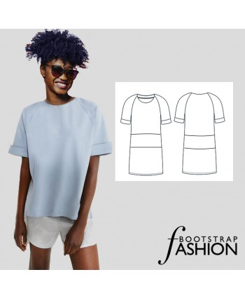 Custom-Fit Exclusive Designer Sewing Pattern - Made-To-Measure Raglan Sleeve Tunic. Step-by-Step Photo Instructions Included.