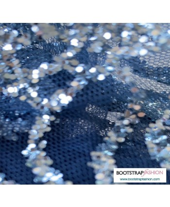 Designer Special Occasion Glitter and Tulle Navy/Silver Fabric (Retail and Wholesale)