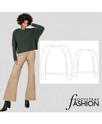 Custom-Fit Sewing Pattern - Raglan Sweatshirt. Includes Step-by-Step Illustrated Sewing Instructions.