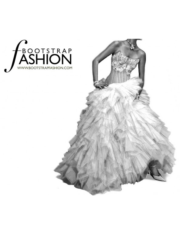 Fashion Designer Sewing Patterns - Bridal Couture Coset Bodice Multitiered Gown
