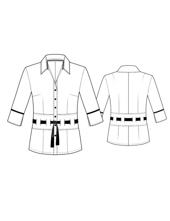 Fashion Designer Sewing Patterns - Tailored Button-Down Blouse with Tie