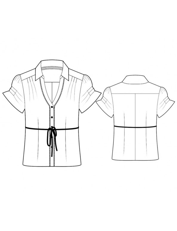 Fashion Designer Sewing Patterns - Short-Sleeved Button-Down Blouse with Tie