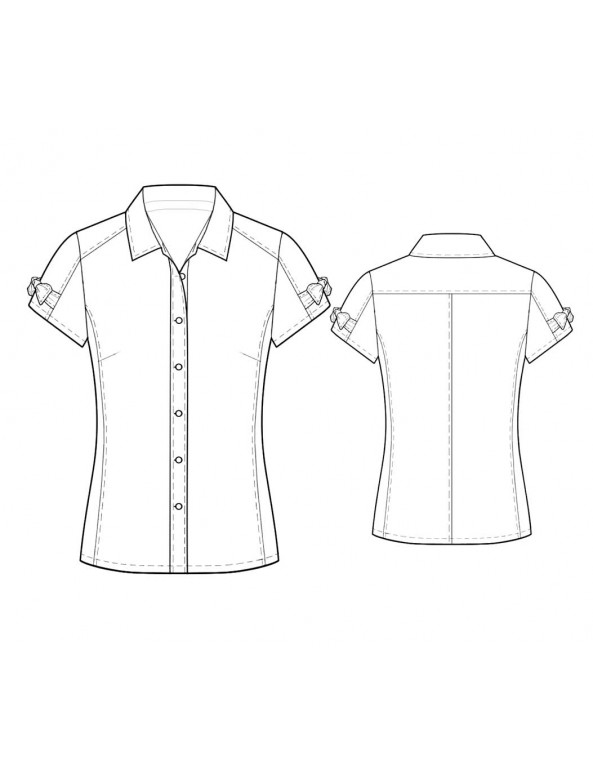 Fashion Designer Sewing Patterns - Short-Sleeved Button-Down Tailored Blouse