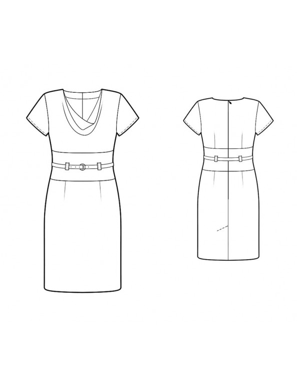 Fashion Designer Sewing Patterns - Short-Sleeved Cinch Belted dress