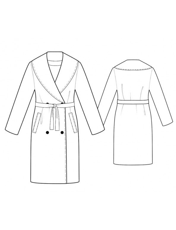 Fashion Designer Sewing Patterns - Shawl Collar Coat with Belt and Pockets