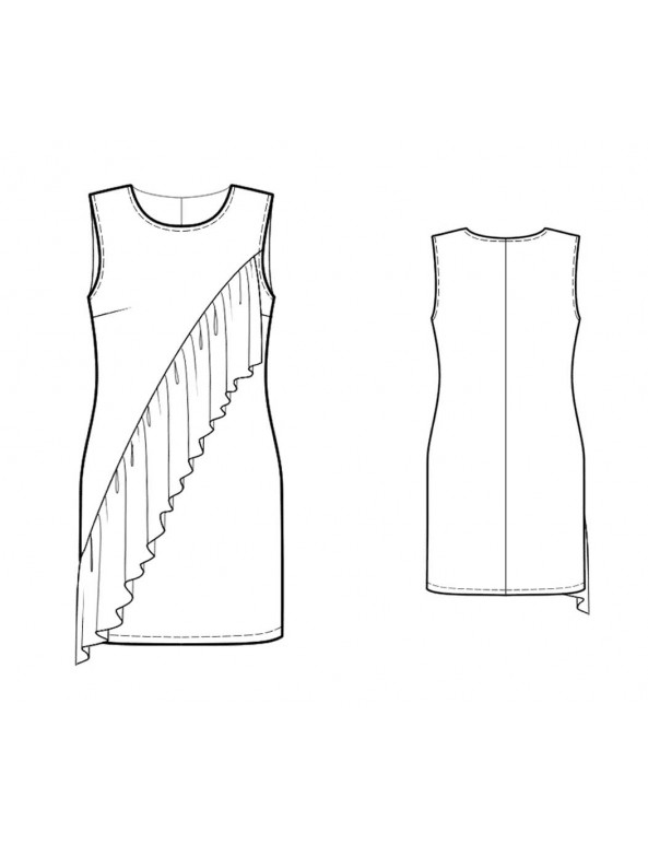 Fashion Designer Sewing Patterns - Sleeveless Shift with Ruffle