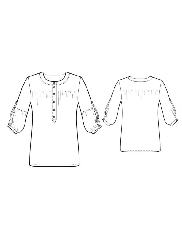 Fashion Designer Sewing Patterns - Round-Neck Button-Down Blouse with Yoke