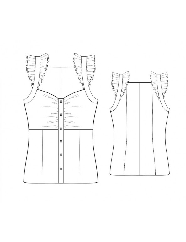 Fashion Designer Sewing Patterns - Button Front Camisole With Ruffles