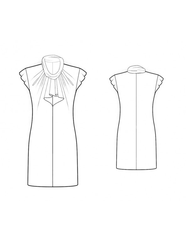 Fashion Designer Sewing Patterns - Jabot Ruffle Front Draped Dress