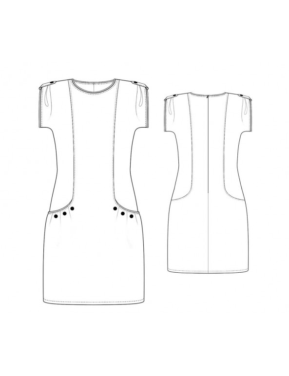 Fashion Designer Sewing Patterns - Capped Sleeve Peekaboo Dress