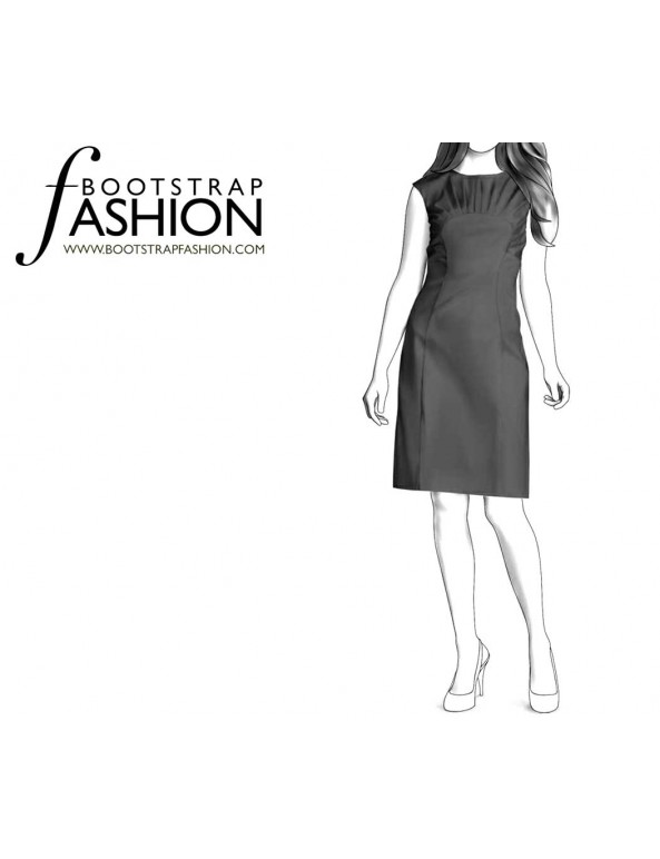 Fashion Designer Sewing Patterns - Boatneck Dress With Curved Seams and Pleats