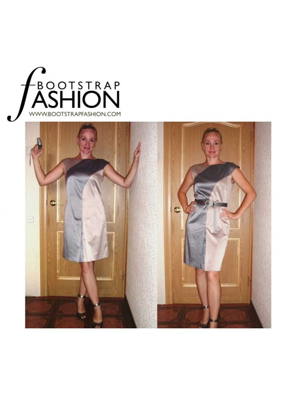 Fashion Designer Sewing Patterns - Boatneck Dress Wth Color/Print Blocked Seams, Front Pleat and Belt