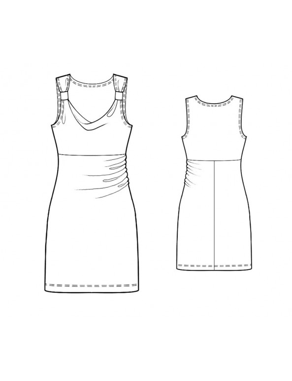 Fashion Designer Sewing Patterns - Tank Style Cowl Neck Straight Knit Dress