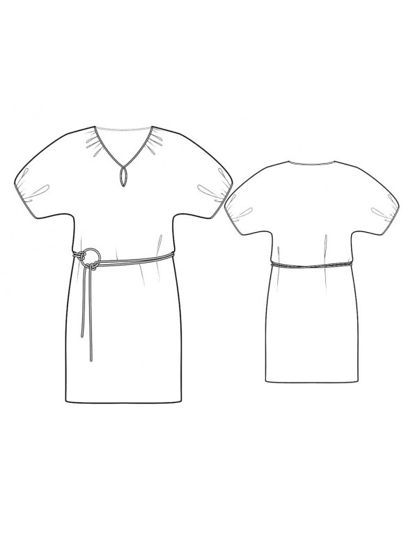 Fashion Designer Sewing Patterns  -Straight Silhouette Peasant Neck Dress With Keyhole And Bubble Sleeves