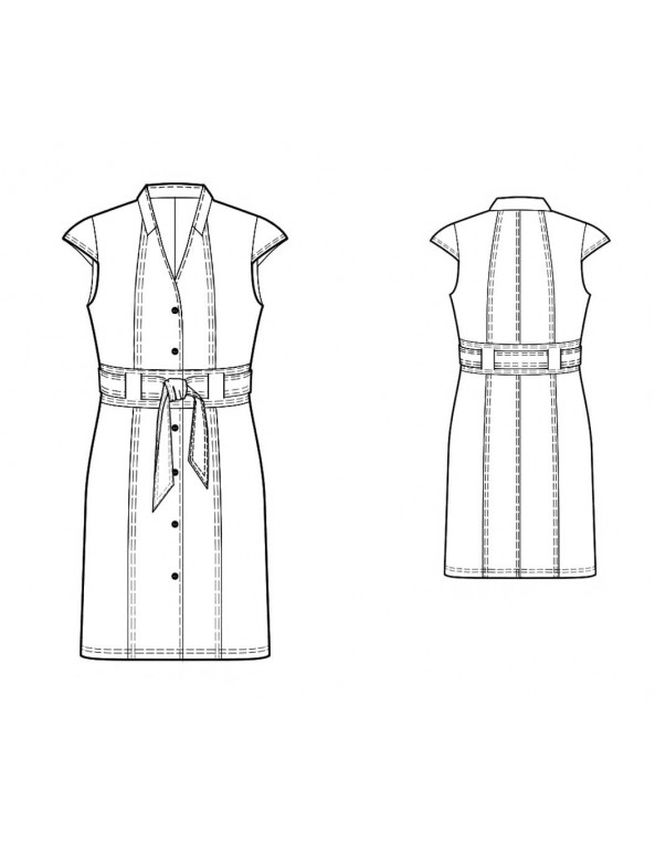 Fashion Designer Sewing Patterns -Buttonfront V-Neck Shirt Dress With Wide Belt