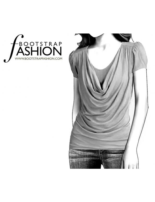 Fashion Designer Sewing Patterns - Short-Sleeved Drape-Necked Blouse