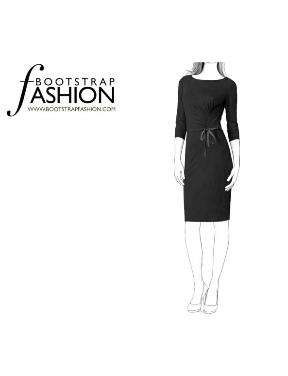 Fashion Designer Sewing Patterns - Boatneck Draped Knit Dress