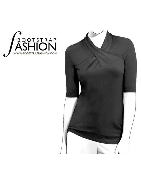 Fashion Designer Sewing Patterns - Short-Sleeved Cross-Neck Knit Top