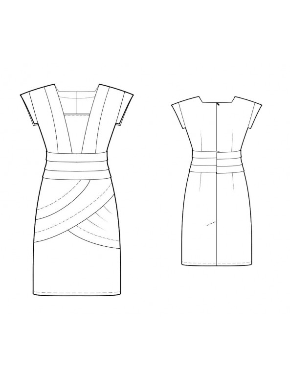 Fashion Designer Sewing Patterns - Bandage Seamed Cap Sleeves Dress