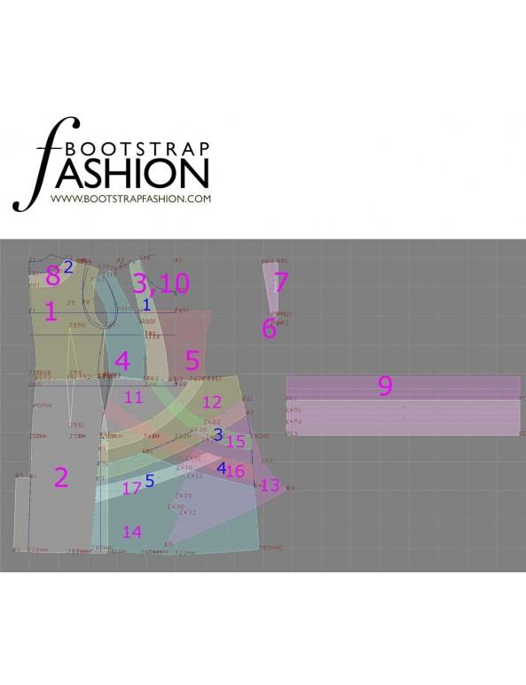 Fashion Designer Sewing Patterns - Bandage Seamed Cap Sleeves Dress