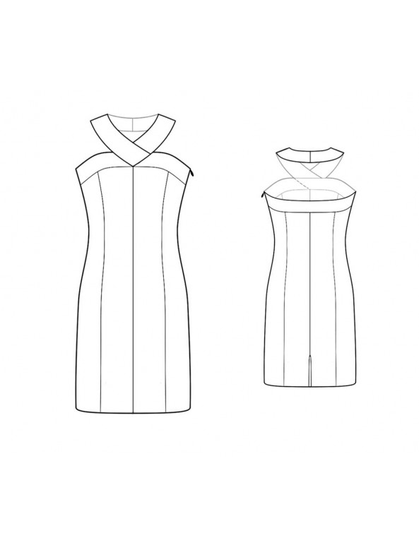Fashion Designer Sewing Patterns - Wide Necknand Halter Dress With Princess Seams