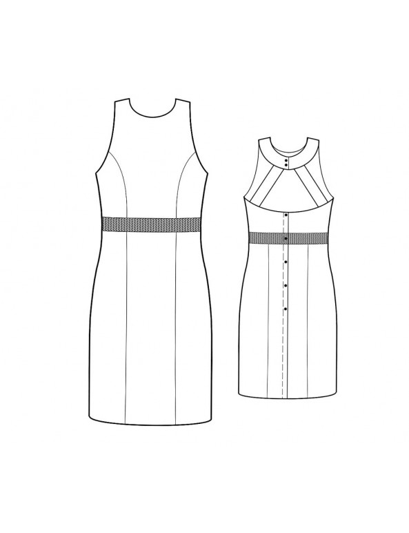Fashion Designer Sewing Patterns - Halter Dress With Princess Seams and Cut-Out Back