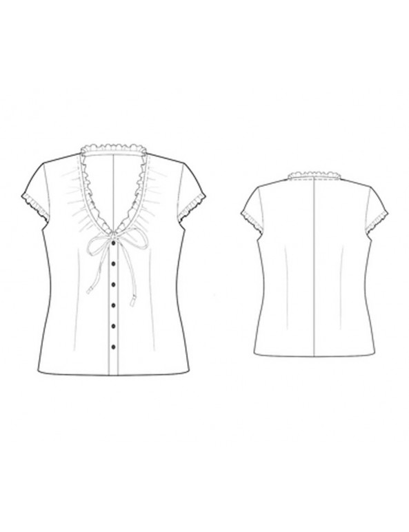 Fashion Designer Sewing Patterns - Capped-Sleeved V-Neck Button-Down Blouse