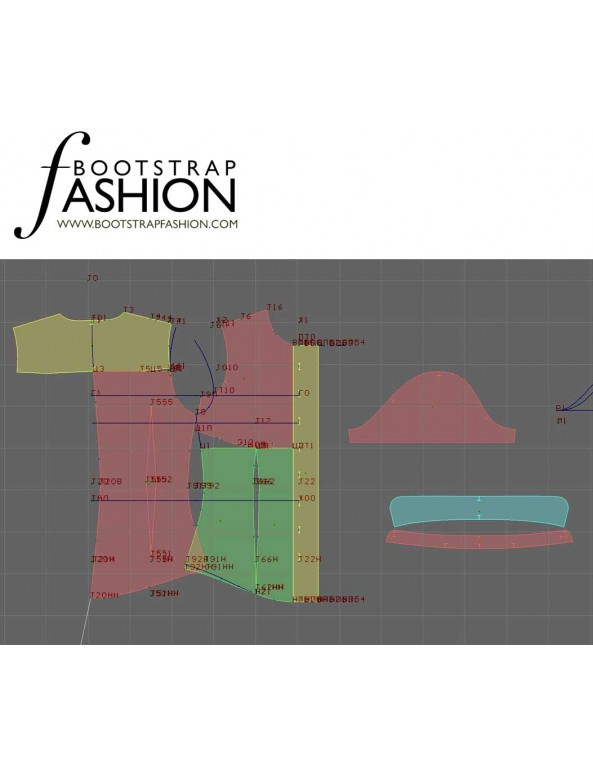 Fashion Designer Sewing Patterns - Short-Sleeved Button-Down Blouse