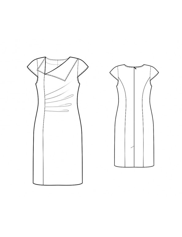 Fashion Designer Sewing Patterns - Draped Sheath Asymmetrical Neckline With Lapel Detail
