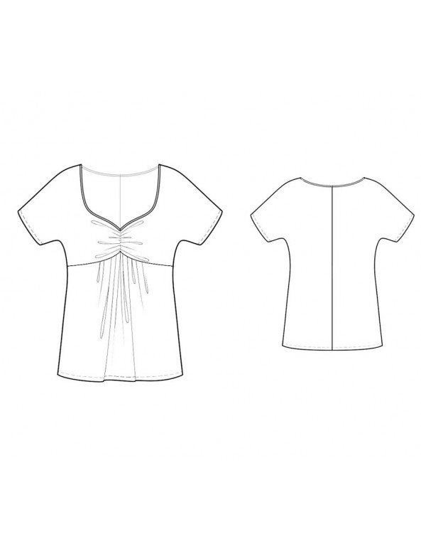 Fashion Designer Sewing Patterns - Sweetheart-Neck Empire Waist Top