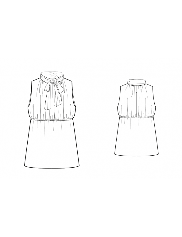 Fashion Designer Sewing Patterns - Tie-Neck Gathered Blouse