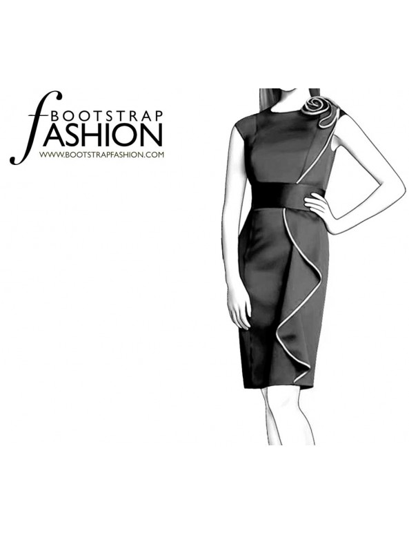 Fashion Designer Sewing Patterns - Side Ruffle Jewel Neck Sheath With Removable Belt