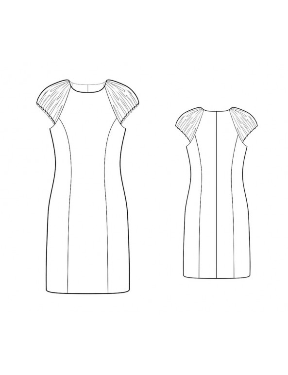 Fashion Designer Sewing Patterns - Jewel Neck Princess Seams Dress With Ruched Cap Sleeves