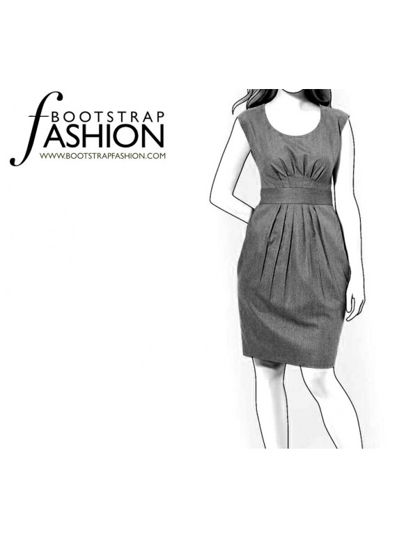 Fashion Designer Sewing Patterns - Scoop Neck Pleated Waistline And Removable Belt
