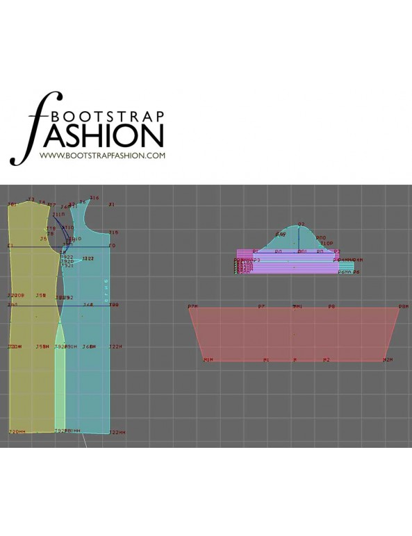 Fashion Designer Sewing Patterns - Round Deep Neck Dress With Deatiled Sleeves