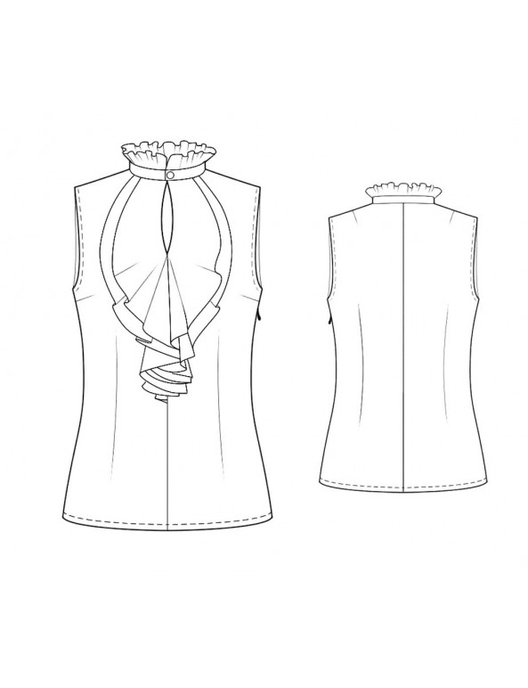 Fashion Designer Sewing Patterns - Sleeveless Ruffle Neck Blouse